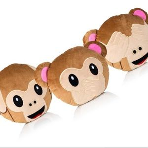 See, Hear, & Speak No Evil Monkey Emoji Pillows